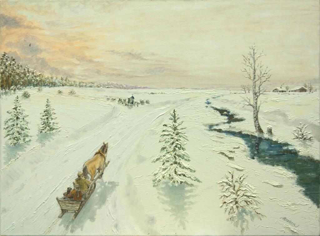 """Teodor Sokołowski - obraz """"Kuligiem w przeszłość"""""""
